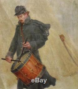 Antique Civil War Period, Drummer Soldier at Winter Camp, O/C Oil Painting, NR