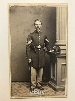 Antique Civil War Soldier Sword Gun 160th New York Infantry Rochester Cdv Photo
