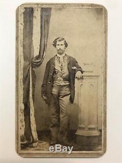 Antique Civil War Soldier With Belt And Revolver Gun Cdv Photo