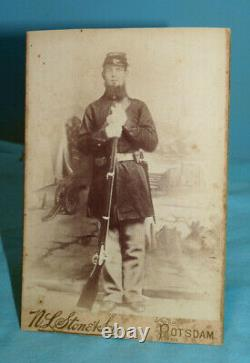 Antique Civil War Soldier withRifle Cabinet Card Photograph, Potsdam, New York