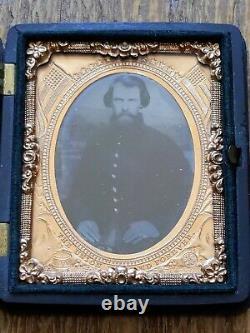 Antique Civil War Union Soldier Tintype Gutta Purcha Case The Union Now Forever