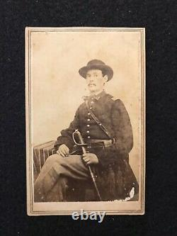 Antique Corinth Mississippi Civil War Soldier Armed With Sword CDV Photo Card