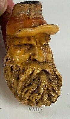 Antique Figural American civil war soldier carved Meerschaum pipe