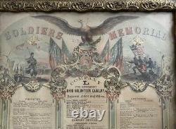 Antique Framed Civil War Soldiers Memorial Litho 1862 Ohio Volunteer Cavalry