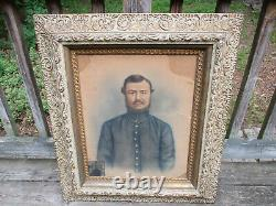 Antique Framed Pastel drawing of a Civil War Soldier & matching Tintype
