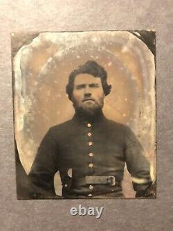 Antique Georgia Confederate Civil War Soldier With Gun And Hair Tintype Photos