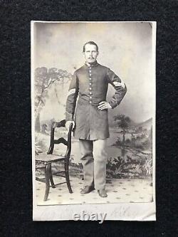 Antique Identified 12th Maine Civil War Soldier Ephraim Riley Cdv Photo