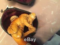 Antique Meerschaum Pipe Civil War Soldier Real Amber Stem in Case