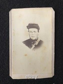 Antique Norwalk Ohio Civil War Soldier In Kepi And Tax Stamp Cdv Photo Card