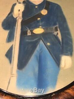 Antique Oval Framed Civil War Soldier In Uniform With Gun 17 X 24 Picture