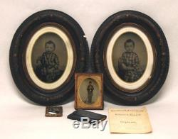 Antique Plate Vermont Civil War Soldier Tintype Photograph Springfield Rifle