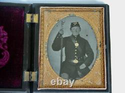 Antique Tintype 1860s CIVIL WAR Tintype Photo Soldier Bayoneted Musket Revolver