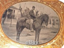 Antique Tintype Photograph Civil War Soldier on Horse Horseback with Sword