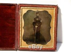 Antique USA ENGLISH c1800 Civil War Soldier Photograph in OLDER Frame