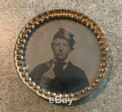 Antique Unidentified Civil War Soldier Smoking a Pipe Round Tintype Photograph