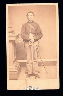 Antique Victorian CDV Photo Young Civil War Union Soldier Armed With Sword