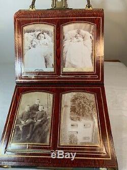 Antique Victorian Photo Album With Civil War Soldier & Brass Stand