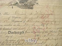 Arkansas CIVIL War Illinois Soldier Discharge Little Rock 1865
