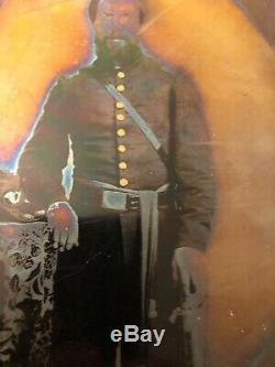 Armed Full Plate CIVIL War Union Infantry Officer Soldier Tintype Sword Hat Sash