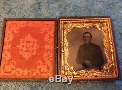 Authentic Civil War Soldier Tin Type Photo Embossed Case 1/6 Plate Antietam Area