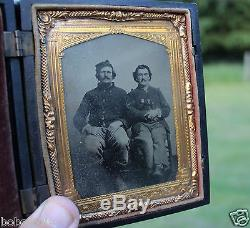 BIG! CIVIL WAR TINTYPE OF 2 SOLDIERS IN a killer gutta percha CASE daguerreotype