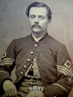 Bold Very Clear Original Massachusetts Civil War First Sergeant Soldier CDV