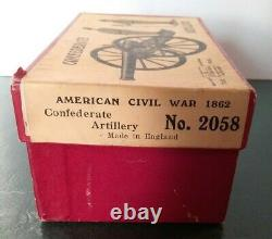 Britains Civil War Confederate Artillery Cannon, Gunners Soldiers Org Box # 2058