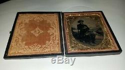 C1860s CIVIL WAR SOLDIER Studio Shot TINTYPE Uniform HAND-TINTED Colored