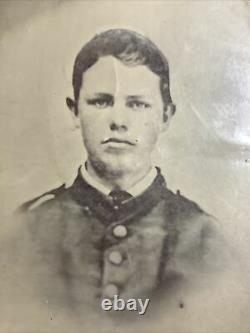 C1860s Civil War Union Army soldier, Indiana 65th Inf. Tintype Photo Full plate