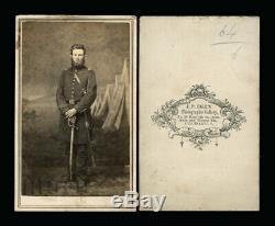 CDV Photo Armed Civil War Soldier, Camp Scene Cincinnati Photographer J. P. Ball