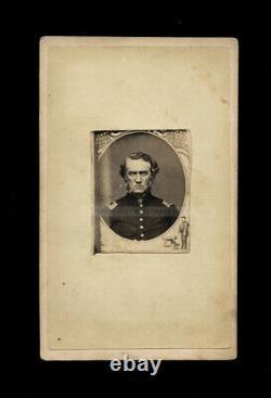 CDV Photo Intense Looking Civil War Soldier Officer Unusual Patriotic Design