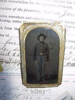 CIVIL WAR ARMED SOLDIER TINTYPE &PAPER GROUPING-JOSEPH BLACKBURN 7TH INDIANA CAV