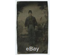 CIVIL WAR ERA SOLDIER With GILDED BUTTONS PAINTED BKGD With FLAG TINTED TINTYPE