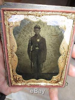 CIVIL War Soldier Armed African American Black Man Tintype Photo 1/4 Plate