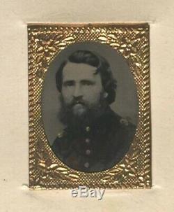 CIVIL WAR SOLDIER BRASS FRAME TINTYPE CDV by GEO. W. GODFREY & CO
