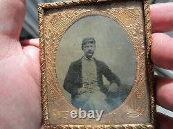 CIVIL WAR SOLDIER DIED IN THE FIELD, Patriotic Copper Frame, Flags