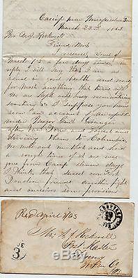 CIVIL War Soldier Letter With Original Envelope Due 3 Murfreesboro 1863