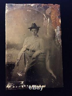 CIVIL WAR SOLDIER OFFICER WIFE WOMAN 7th CAVALRY VICTORIAN TINTYPE PHOTO 1278