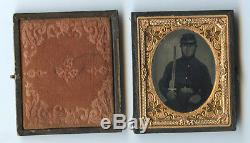 CIVIL WAR SOLDIER With SWORD IN CASE RUBY AMBROTYPE