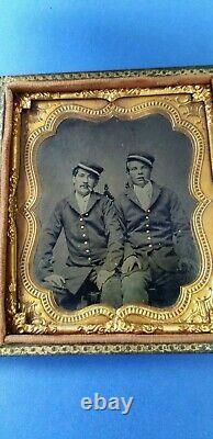 CIVIL WAR TINTYPE 1/6 PLATE OF 2 NAVAL SOLDIERS WithCIGARS IN FULL CASE/VINTAGE