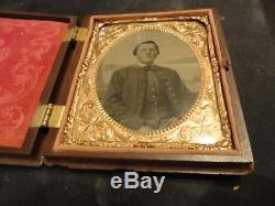 CIVIL WAR UNION INFANTRY SOLDIER 6TH PLATE TINTYPE 110th REGIMENT NY W. BARLOW