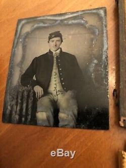 CIVIL WAR UNION SOLDIER 6th Plate Tintype Kepi Frock Coat No Bends Half Case