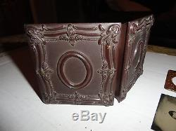 CIVIL WAR UNION SOLDIER TINTYPE With CIGAR TINTED UNIFORM THERMOPLASTIC FULL CASE