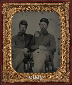 CIVIL War Era 6th Plate Tinted Tintype. Union Soldiers, Affectionate Pose