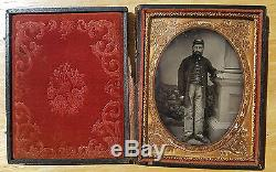 CIVIL War Soldier 1/4 Plate Ruby Ambrotype Nh Volunteers Photograph Uniform