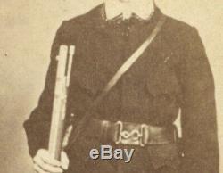 CIVIL War Soldier CDV Poss. Confederate, W Snake Belt Buckle, Corps Badge, Rifle