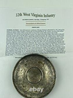 CIVIL War Soldier Trinket Dish Inscribed W. Va Vol Inf Co. B Sgt. Alfred Grimes