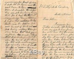 CIVIL War Soldiers Letter, 3/12/1863, U. S. Ship North Carolina