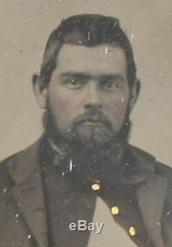 CIVIL War Tintype. Soldier In Uniform Seated Holding Hat. Tinted 6th Plate