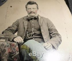 CIVIL War Union Infantry Sergeant Soldier 6th Plate Tintype New York Militia Ny